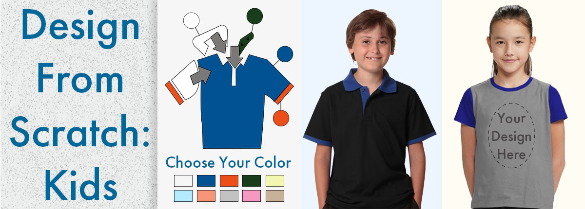 Custom Created Kids T-Shirts with choice of Fabric and Colour
