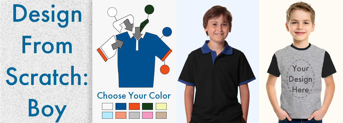 Custom Created Boys Apparel with choice of Fabric and Colour Australia