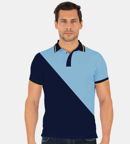 Cross Panel Cut & Sew Polo Shirt with Single Tipping