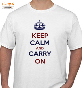 keep calm and carry on blue red - T-Shirt