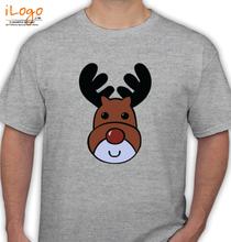 Christmas Mens-Blue-Reindeer-Christmas T-Shirt