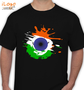 indian independence day background with national flag colors and ashoka wheel - T-Shirt