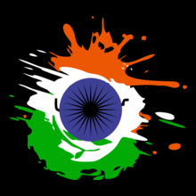 indian-independence-day-background-with-national-flag-colors-and-ashoka-wheel T-Shirt