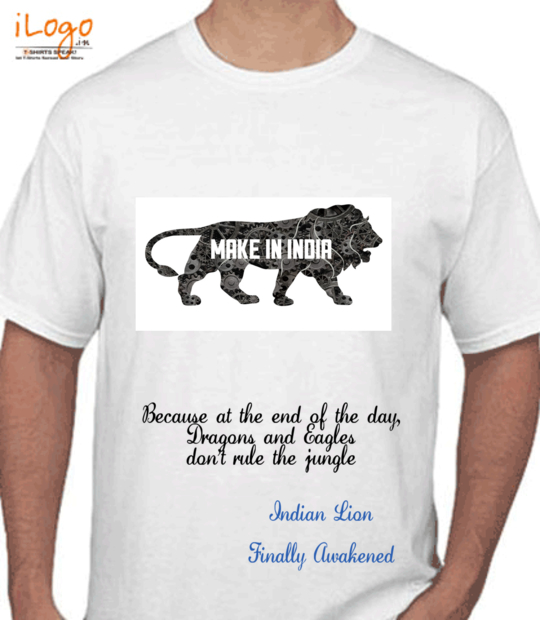 white make in india t shirt:front