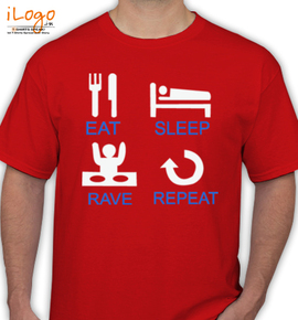 eat-sleep-rave-repeat- - T-Shirt