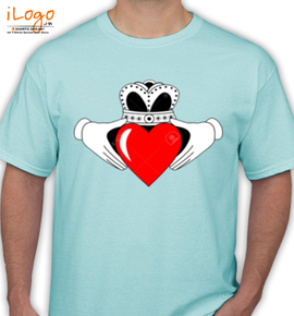Claddagh Graphic with Red Heart - T-Shirt