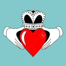 Friendship Day Claddagh-Graphic-with-Red-Heart T-Shirt