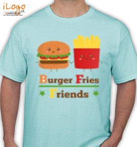 kawaii burger and fries  - T-Shirt