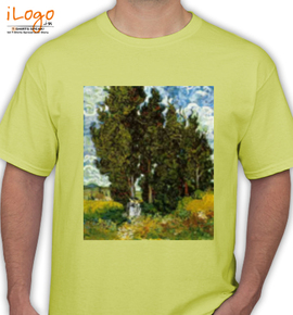 Van Gogh Cypresses with Two Female Figures Tshirts - T-Shirt