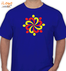 friend circle in red % yellow - T-Shirt