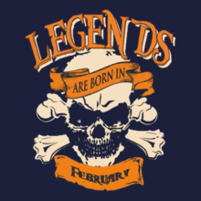 Legends are Born in February LEGENDS-BORN-IN-February-. T-Shirt