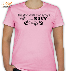 proud navy wife with anchor - T-Shirt [F]