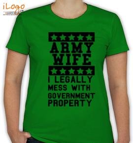 army-wife-slogan-on-green - T-Shirt [F]