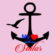Navy Wife my-heart-is-with-my-sailor T-Shirt