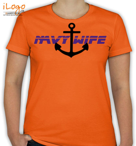 navy wife anchor in black - T-Shirt [F]