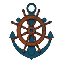 Navy Wheel-Anchor T-Shirt