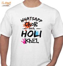 Holi whatsaap-chor-aur-holi-khel T-Shirt