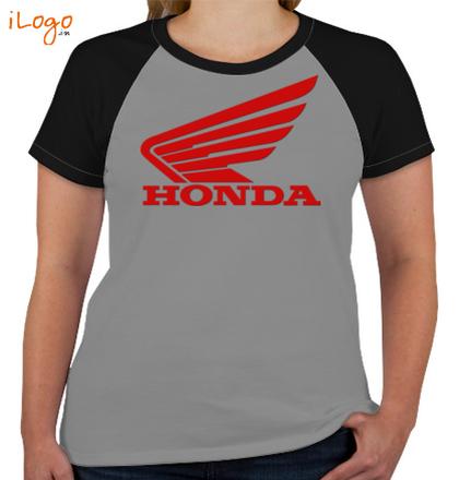 HONDA-Women%s-Round-Neck-Raglan-Half-Sleeves T-Shirt