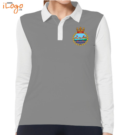 INS-Sahyadri-%F%-crest-Women%s-Polo-Full-Sleeves-With-Buttons T-Shirt