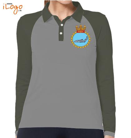 INS-Sindhuraj-%S%-emblem-Women%s-Polo-Raglan-Full-Sleeves-With-Buttons T-Shirt