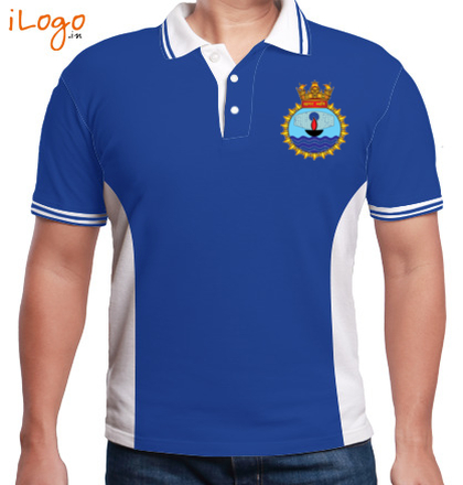 INS-Sagardhwani-emblem-Men%s-Polo-Double-Tipping-With-Side-Panel T-Shirt