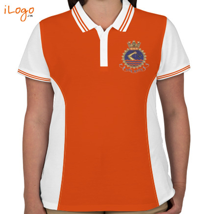 INS-Shivaji-Crest-Women%s-Polo-Double-Tip-With-Side-Panel T-Shirt