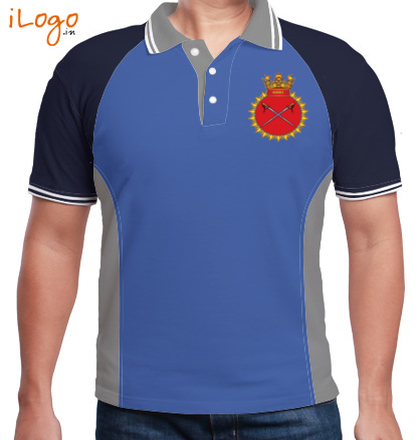 INS-Talwar-emblem-Men%s-Polo-Double-Tipping-Raglan-With-Side-Panel T-Shirt