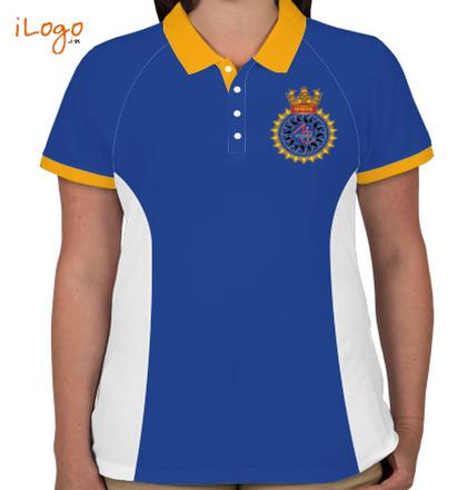INS-Sandhayak-%J-%-emblem-Women%s-Polo-Raglan-Double-Tip-With-Side-Panel T-Shirt