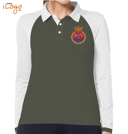 INS-Tir-emblem-Women%s-Polo-Raglan-Full-Sleeves-With-Buttons T-Shirt