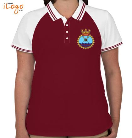 Indian Navy Collared T-Shirts INS-Ranvijay-Women%s-Raglan-Double-Tip-Polo-Shirt T-Shirt