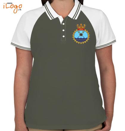 Indian Navy Collared T-Shirts INS-Ranvijay-%D%-crest-Women%s-Raglan-Double-Tip-Polo-Shirt T-Shirt