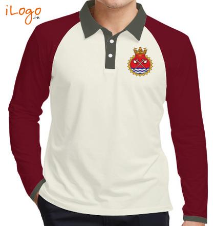 Indian Navy Collared T-Shirts INS-Tabar-emblem-Raglan-Full-Sleeves-Polo-Shirt T-Shirt