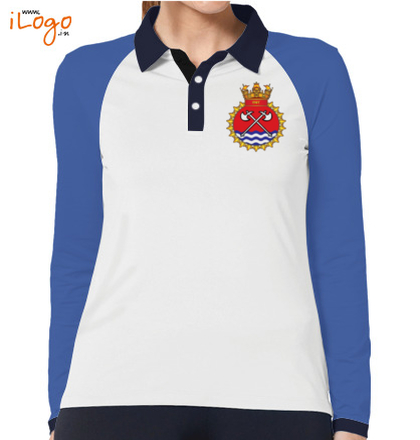 Indian Navy Collared T-Shirts INS-Tabar-emblem-Women%s-Polo-Raglan-Full-Sleeves-With-Buttons T-Shirt