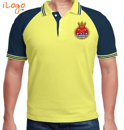 Indian Navy Collared T-Shirts INS-Shivalik-%F%-crest-%%-Raglan-Polo-Double-Tip T-Shirt