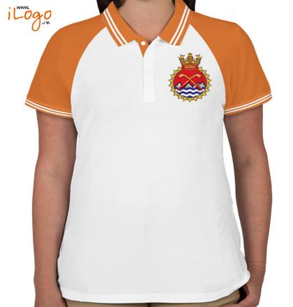 Indian Navy Collared T-Shirts INS-Shivalik-Women%s-Raglan-Double-Tip-Polo-Shirt T-Shirt
