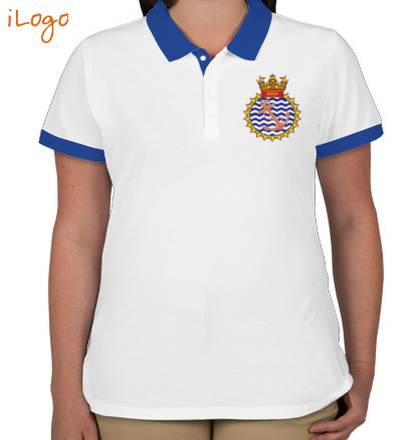 Indian Navy Collared T-Shirts INS-Sutlej-emblem-Two-button-Polo T-Shirt