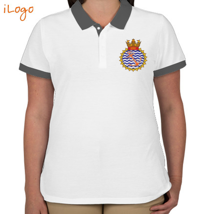 Indian Navy Collared T-Shirts INS-Sutlej-emblem-womens-Two-button-Polo-T-Shirt-Design T-Shirt