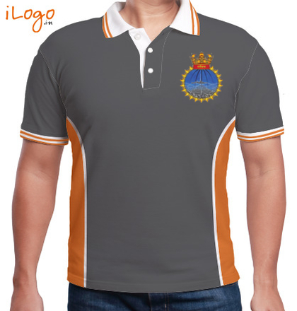 Indian Navy Collared T-Shirts INS-Sutlej-emblem-Men%s-Polo-Double-Tipping-With-Side-Panel T-Shirt