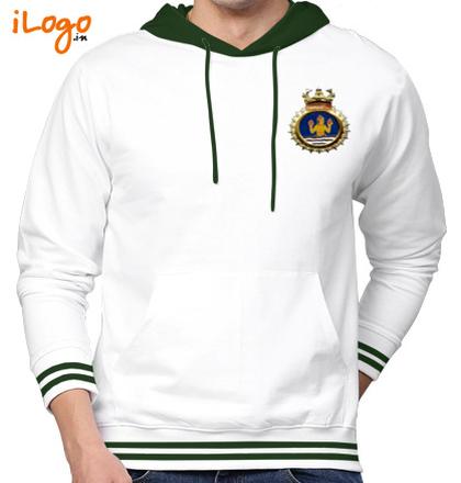 Indian Navy Hoodies Crest-of-INHS-Dhanvantari-Men%s-Hoodie-with-Tipping T-Shirt