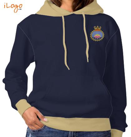 Indian Navy Hoodies Crest-of-INHS-Kalyani-Women%s-Hoodie-Full-Sleeves T-Shirt